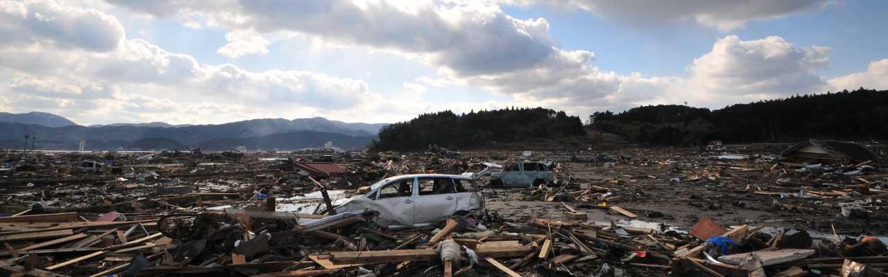 津波で壊滅状態の陸前高田市の風景