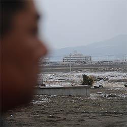 津波の被害を受けた陸前高田市街地