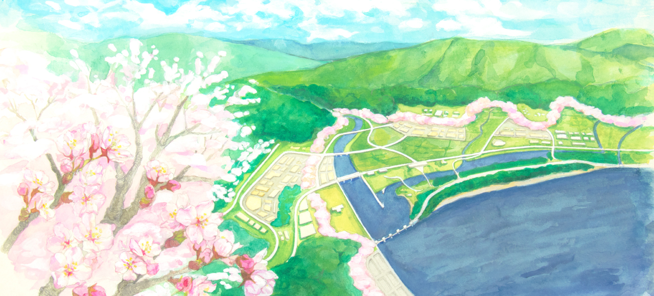 陸前高田と桜の風景